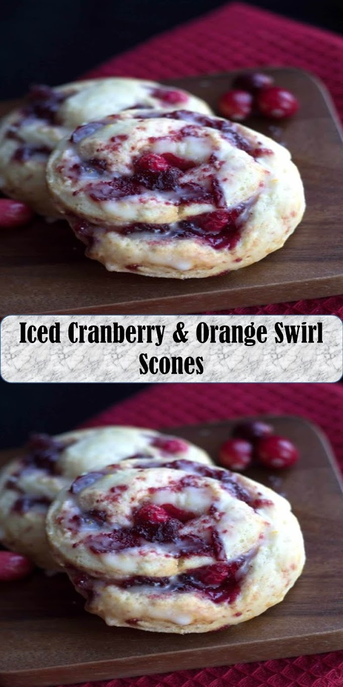 #Yummy #Iced #Cranberry #& #Orange #Swirl #Scones