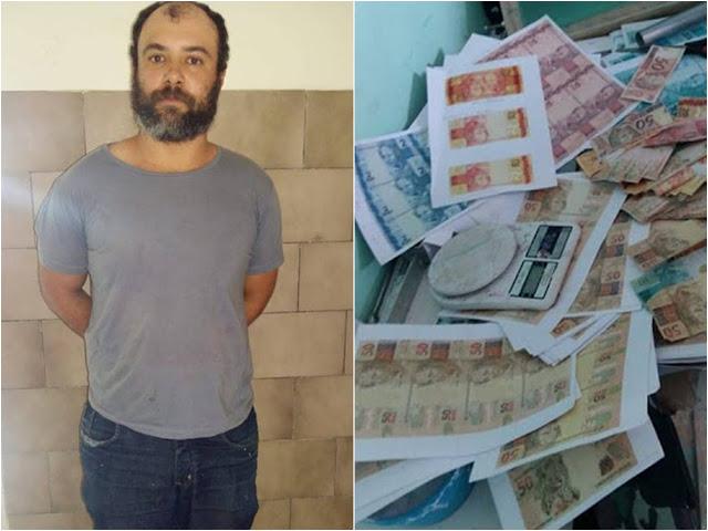 Preso acusado de fabricar dinheiro vendia por R$ 500 os lotes de cédulas falsas; VÍDEO