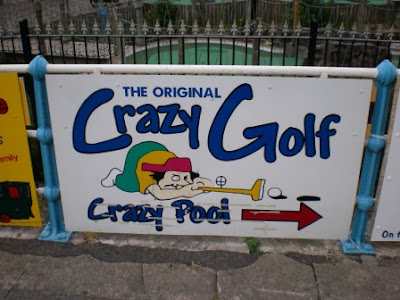A sign for Crazy Pool in Skegness, Lincolnshire back in 2011