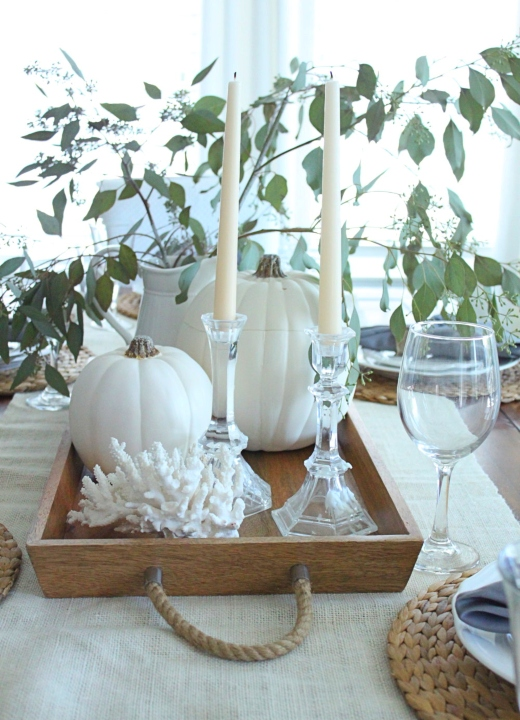 White Coastal Fall Decor Ideas Tray Vignette Tabletop Design