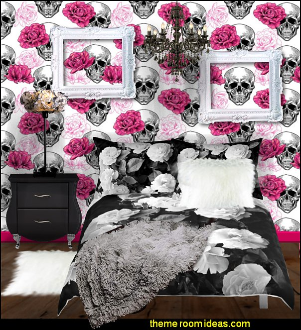 skulls wallpaper roses bedding  Skull decor - skull bedding - skull pattern bedding - decorative skulls - sugar skull bedding - skull themed room - skull bedroom wallpaper - Skull bedroom decorating ideas - skulls - gothic skull decor - Monster High bedroom ideas - Monster High wall decals - Monster High room decor - skull bedroom decor ideas