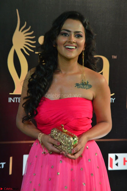 Sraddha in Sleeveless Off Shoulder Pink Dress at IIFA Utsavam Awards March 2017 005.JPG
