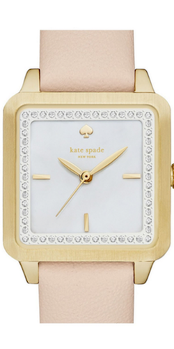 kate spade new york 'washington' square leather strap watch, 25mm