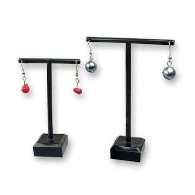 T-Shaped Earring Display Stand Set of two, each holding a pair of hook earrings