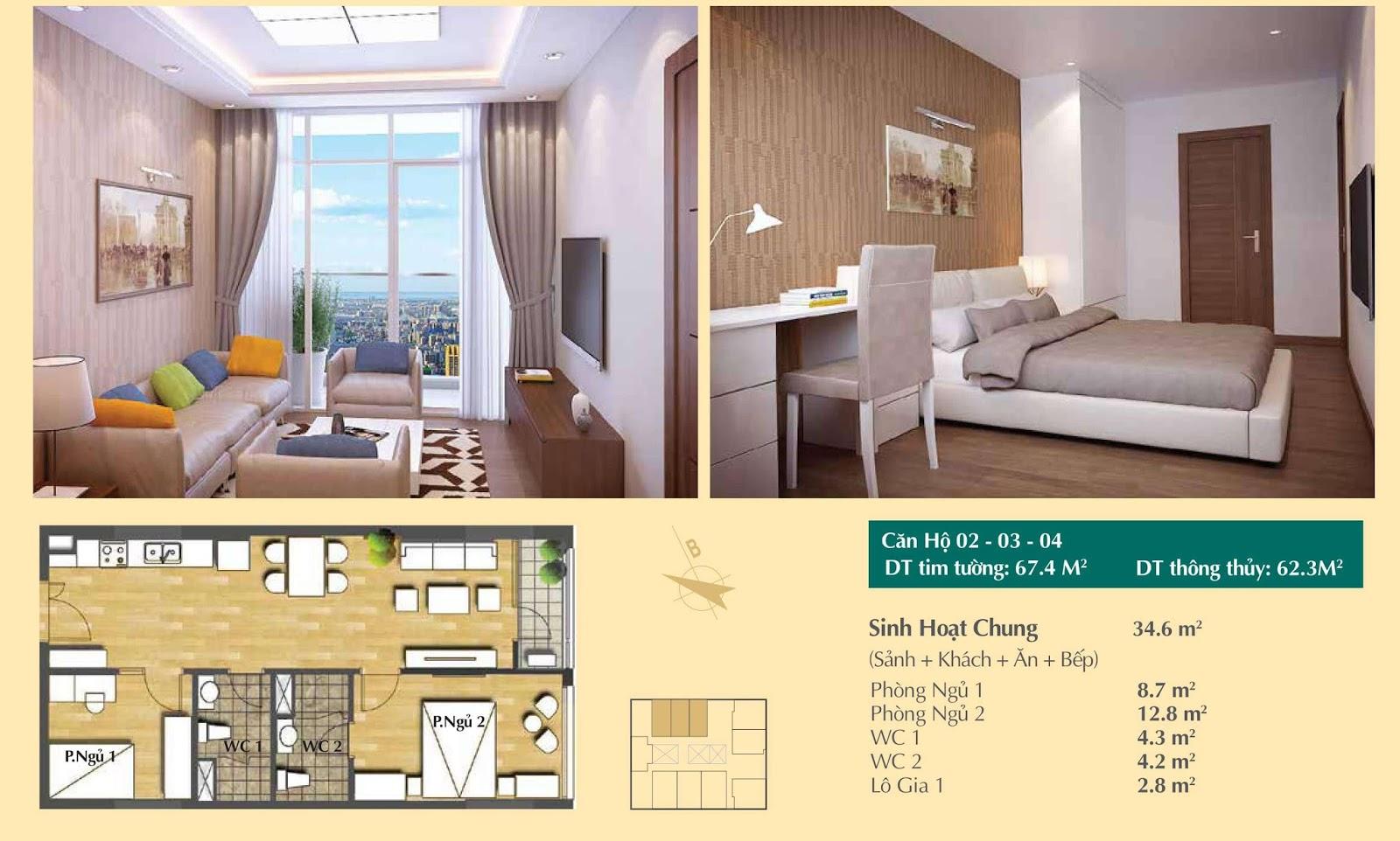 Thiết kế căn hộ số 02, 03 và 04 - 67m2 Hoàng Cầu Skyline