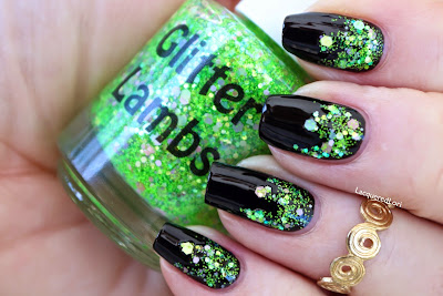 "Lime Green Eyeshadow ""Fashion Makeover Collection"" Glitter Lambs Nail Polish Swatched By @LacqueredLori"