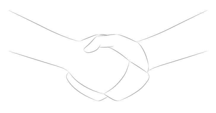 Jabat tangan menggambar bentuk tangan