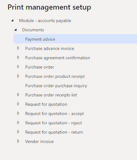 Accounts payable Print management document list