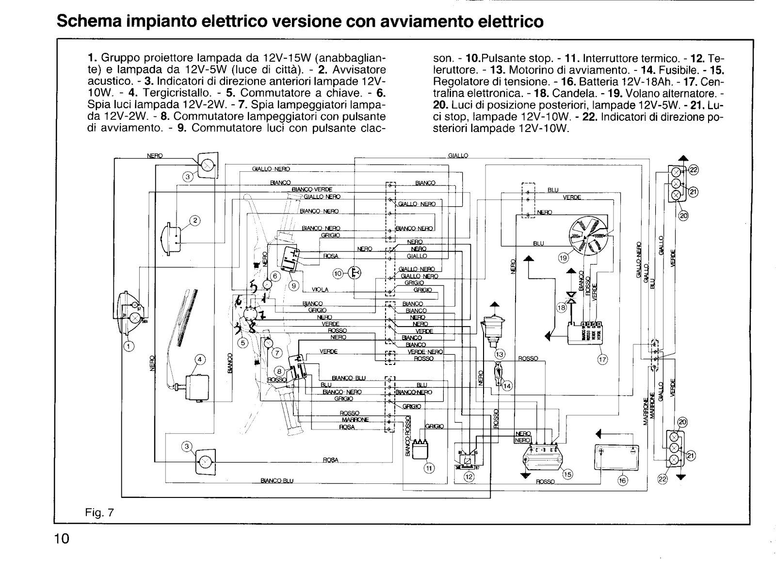 Schema Elettrico Lampada : Ape50 elaborato piaggio: schema elettrico ape 50 originale.