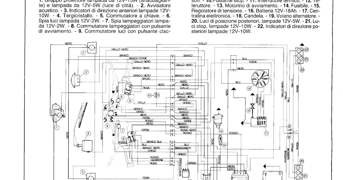 Schema Elettrico Ape 50 Monofaro : Ape elaborato piaggio schema elettrico originale