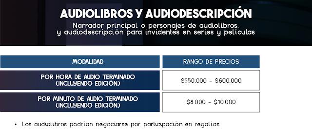 Tarifas de Locución en Audiolibros y Audiodescripción - Colombia 2021