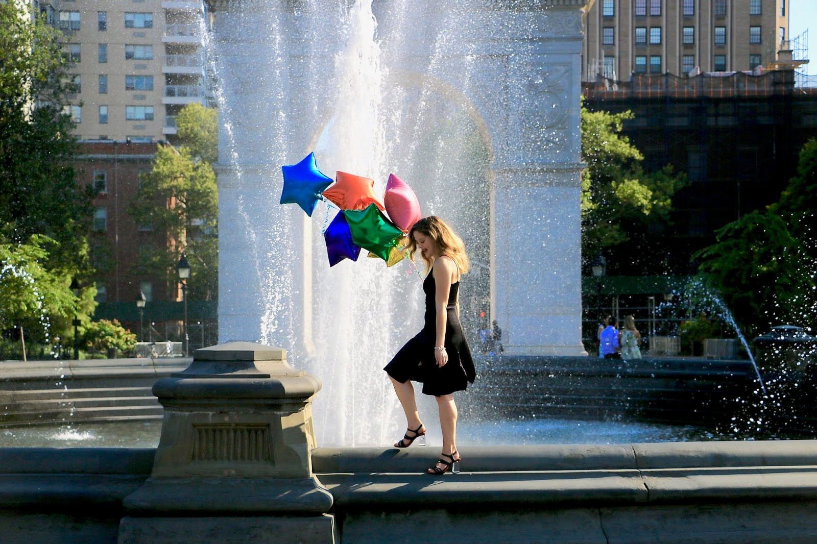 Nyc fashion blogger Kathleen Harper's birthday photo shoot in Washington Square Park with balloons.