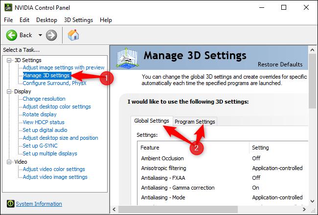 إدارة الإعدادات ثلاثية الأبعاد في لوحة تحكم NVIDIA