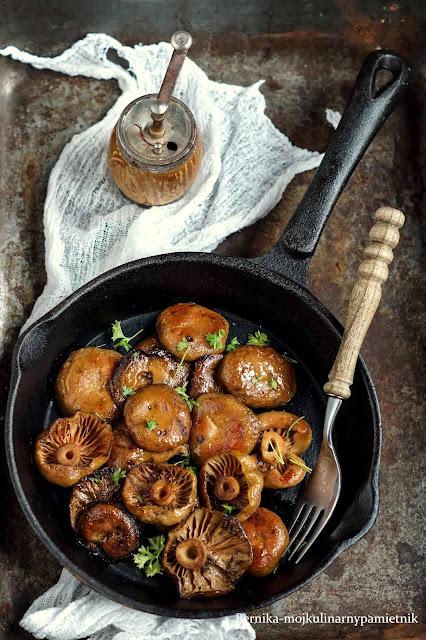 rydze, grzyby, patelnia, kolacja, bernika, kulinarny pamietnik, jesien,