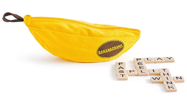 Bananagrams or speed scrabble game - perfect stocking stuffer ideas for adults