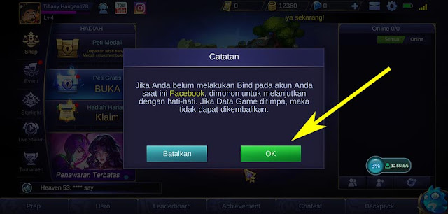 login facebook mobile legend