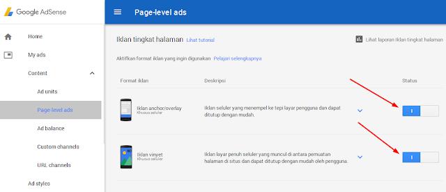 Memilih Unit Page Level Ads