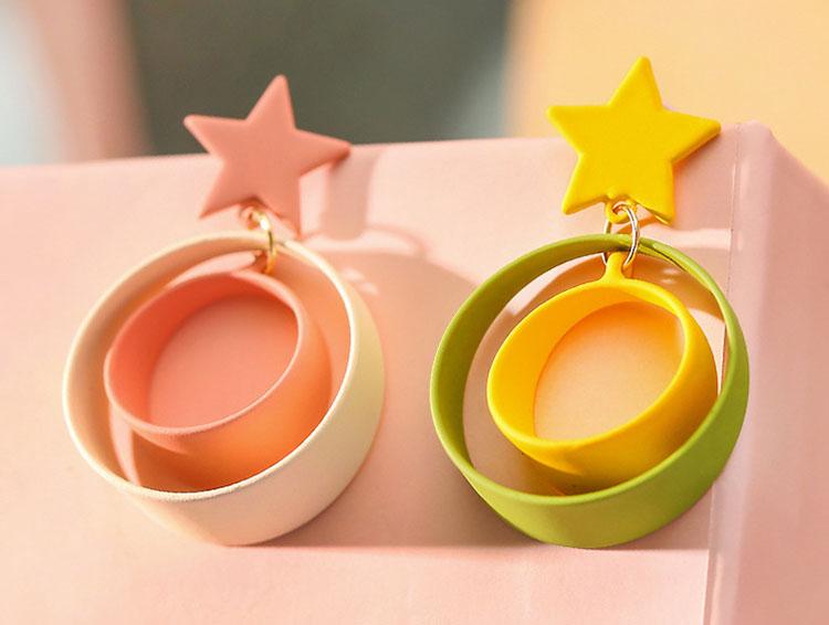 白綠粉嫩造型圈圈耳環