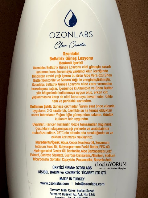ozonlabs bellatrix güneş losyonu içerik