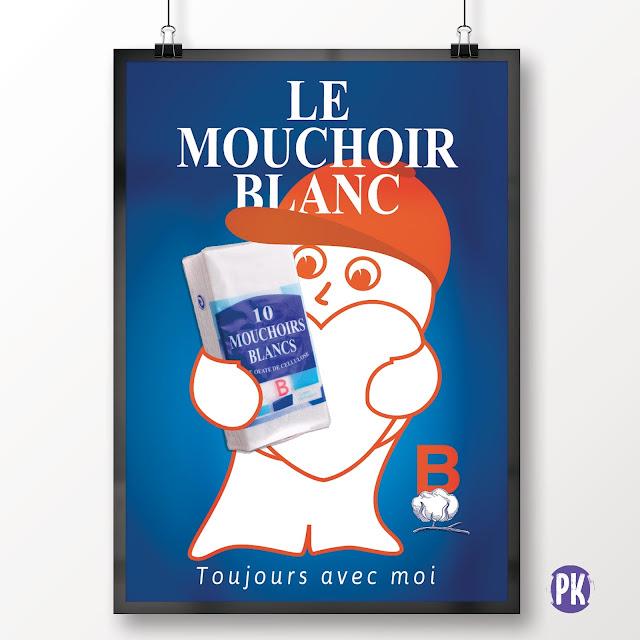 création conception affiche PLV Mouchoirs Blancs, B