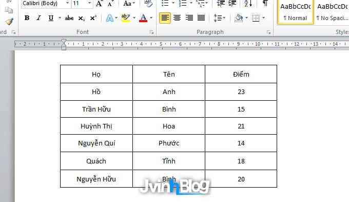 Cách sắp xếp dữ liệu trong bảng Word 2007, 2010, 2013, 2016