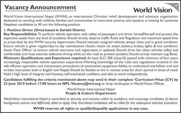 Vacancy Announcement from World Vision International Nepal (WVIN)