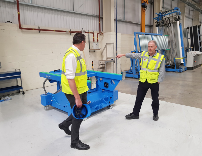 Garador's Martin Best and David Burton inspect the production facility on a Gemba Walk