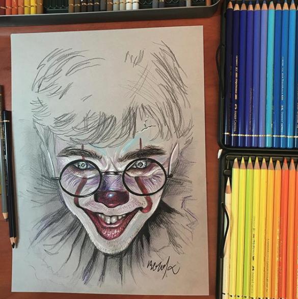 Dibujo de Fusión de Harry Potter y Pennywise de It
