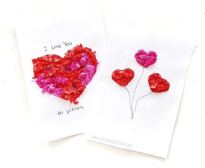 tissue paper sticky heart cards perfect for valentines day or birthdays