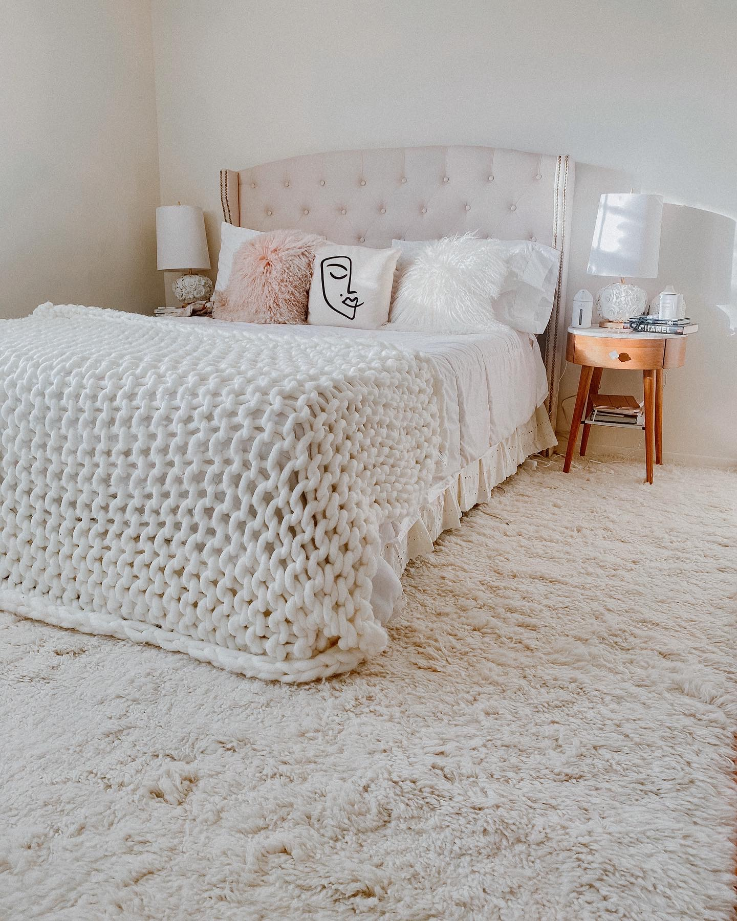 Solid Ivory Wool Moroccan Shag Area Rug