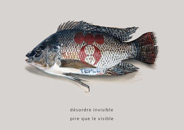 Tilapia du Nil, poisson noir et gris estampillé du logo Tepco
