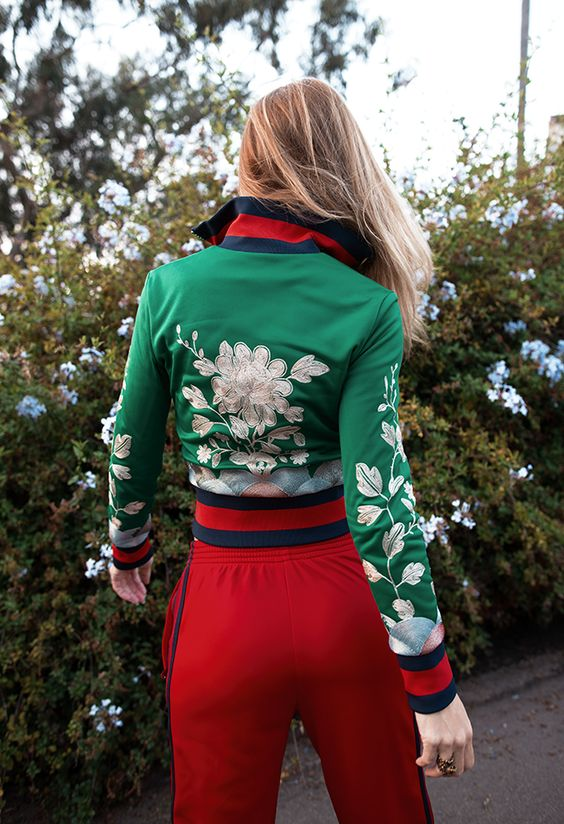 Native Fox Gucci Green Satin Floral Embroidered Bomber Jacket