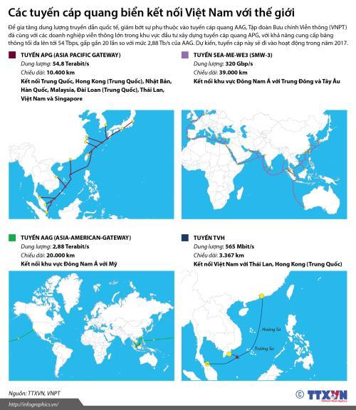 Các tuyến cáp quang biển kết nối Việt Nam với thế giới.