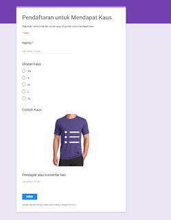 tampilan form yang ada setelah klik isi formulir