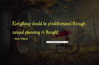 Careful planning or thought Quote by Steven Redhead
