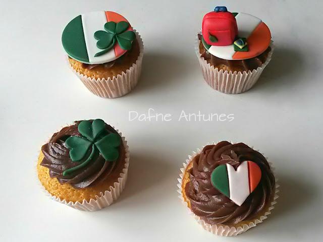 Cupcakes da Irlanda trevo, coração, bandeira e mala - Irealand cupcakes - irish
