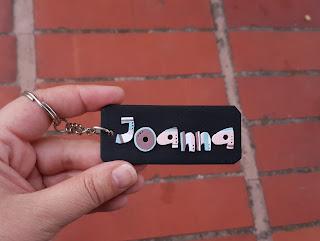 keychain, breloczki, imienne, z imieniem, imiona, strips, paski, kolorowe, Joanna, Joasia