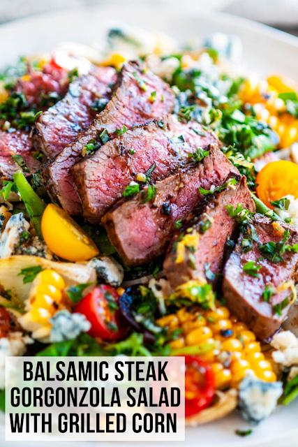Balsamic Steak Gorgonzola Salad with Grilled Corn