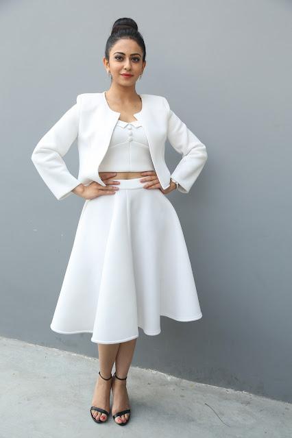Rakul Preet Latest Photos In White Dress Navel Queens
