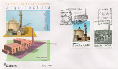Sobre Primer Día de Circulación de los sellos de la serie Arquitectura de 2006, este dedicado al Vapor Aymerich y a la Biblioteca Depósitos del Sol