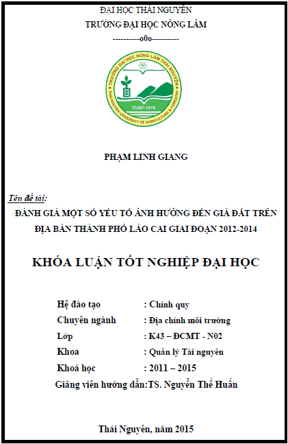 Đánh giá một số yếu tố ảnh hưởng đến giá đất trên địa bàn thành phố Lào Cai giai đoạn 2012-2014