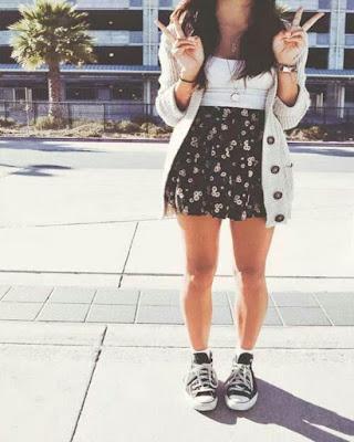 outfit casual para adolescente tumblr con falda y converse