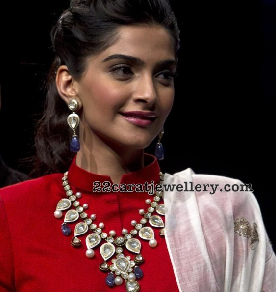 Sonam Kapoor Polki Set with Sapphire Drops