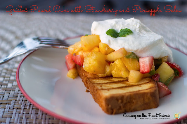 grilled pound cake with strawberries and pineapple
