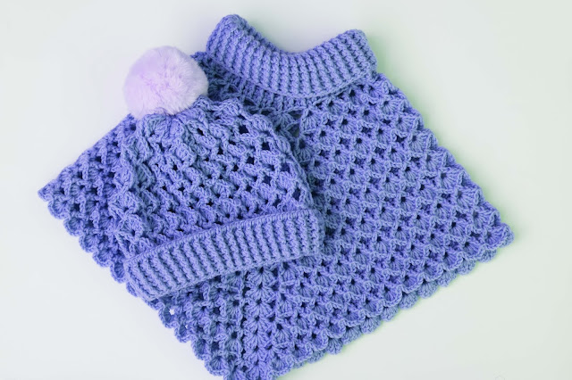 3-Crochet Imagen Gorro conjunto poncho cuello de tortuga a crochet y ganchillo por Majovel Crochet