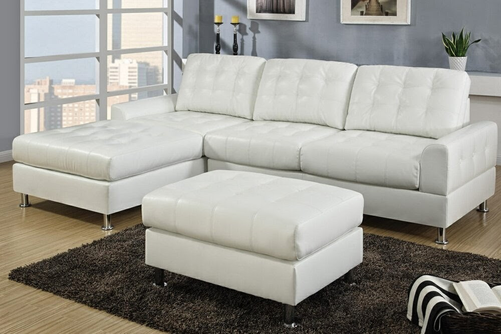 2 Pieces Cream Bonded Leather Sectional Sofa With Chaise Lounge
