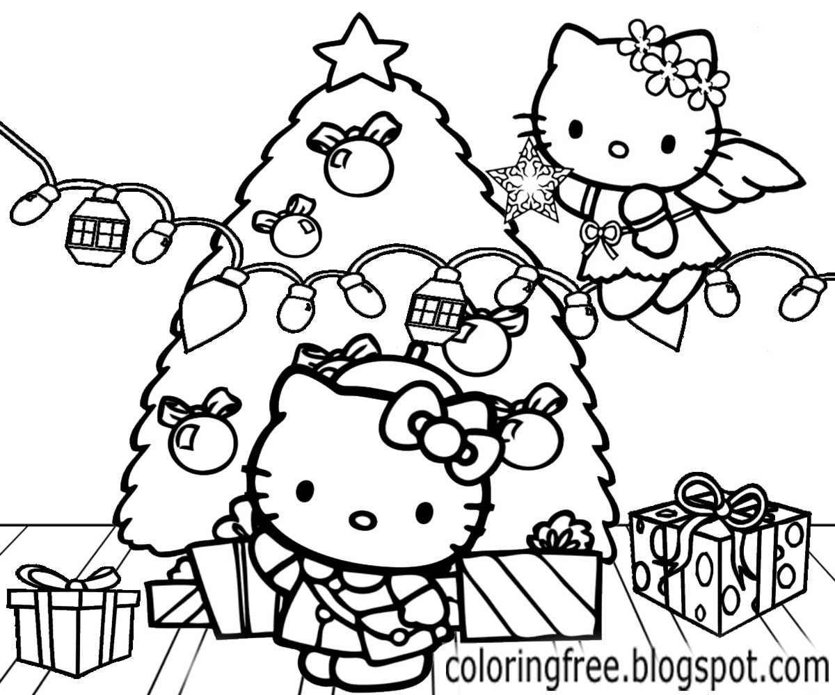 Christmas hello Kitty coloring pages for kids, printable free ... | 1000x1200