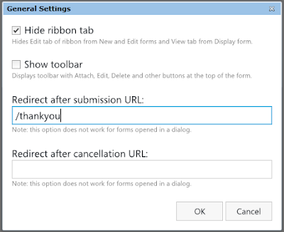 SharePoint Form General Settings