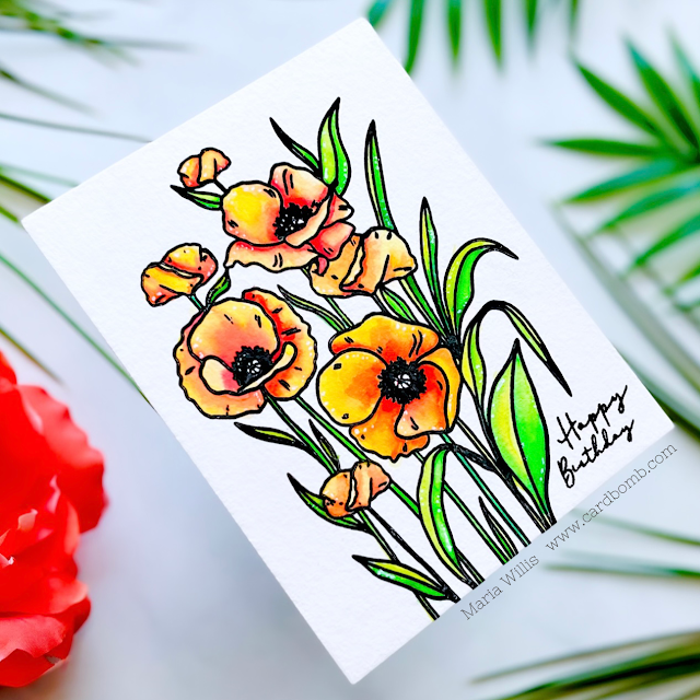 Cardbomb, Maria Willis, Gina K. Designs,video,video tutorial,Karin Markers,watercolor,flowers, cards,handmade cards,stamps, stamping, ink, paper, papercraft, craft, create, diy,happy birthday,