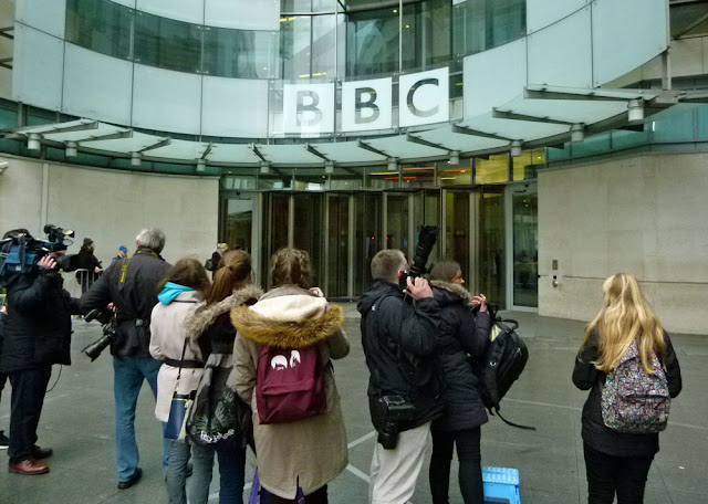 Crowd waiting for Cameron at the BBC
